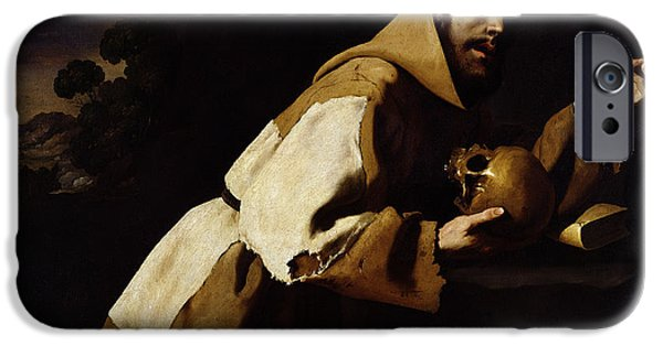 Saint Hope iPhone Cases - Saint Francis in Meditation iPhone Case by Francisco de Zurbaran