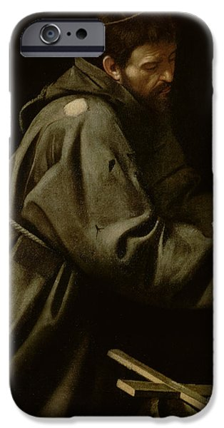 Caravaggio Paintings iPhone Cases - Saint Francis in Meditation iPhone Case by Michelangelo Merisi da Caravaggio