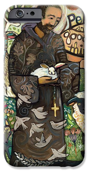 Patterns Paintings iPhone Cases - Saint Francis iPhone Case by Jen Norton
