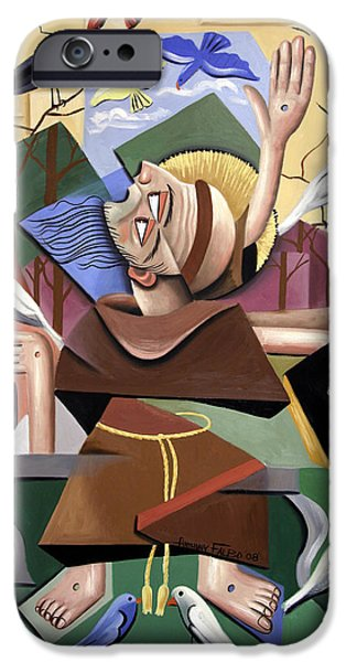 Modern Abstract iPhone Cases - Saint Francis Sermon To The Birds iPhone Case by Anthony Falbo