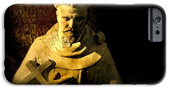 Statue Portrait iPhone Cases - Saint Francis iPhone Case by Susanne Van Hulst