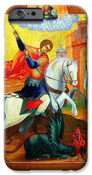 Russian Icon iPhone Cases - Saint George iPhone Case by Munir Alawi