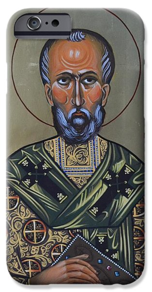 Greek Icon Paintings iPhone Cases - Saint Gregory Icon iPhone Case by Kateryna Kurylo