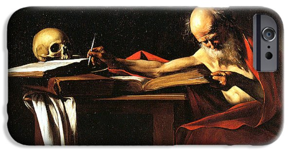 Caravaggio iPhone Cases - Saint Jerome Writing iPhone Case by Caravaggio