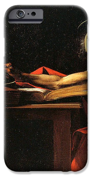 Saint Jerome Writing iPhone Case by Caravaggio