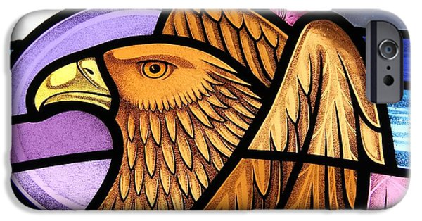 Sacred Glass iPhone Cases - Saint John Eagle  iPhone Case by Gilroy Stained Glass