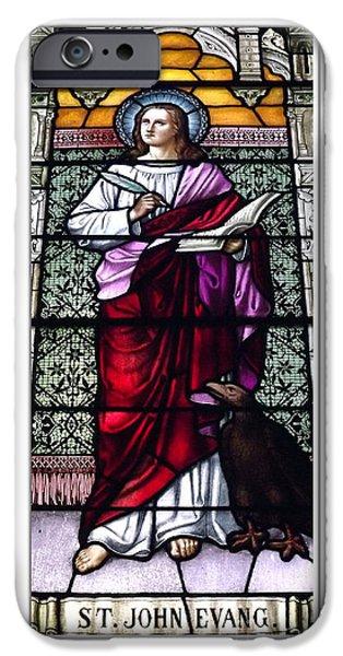 St John The Evangelist Photographs iPhone Cases - Saint John the Evangelist Stained Glass Window iPhone Case by Rose Santuci-Sofranko