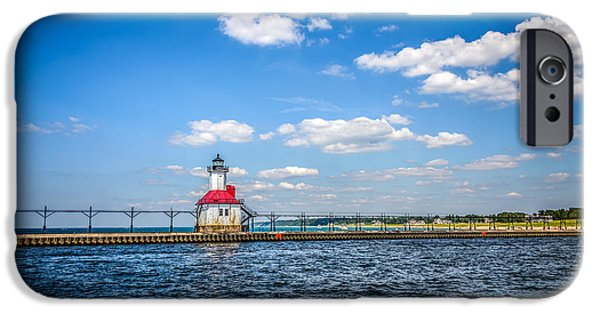 Lake House iPhone Cases - Saint Joseph Lighthouse and Pier Picture iPhone Case by Paul Velgos