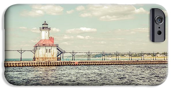 Lake House iPhone Cases - Saint Joseph Lighthouse Retro Panorama Photo iPhone Case by Paul Velgos