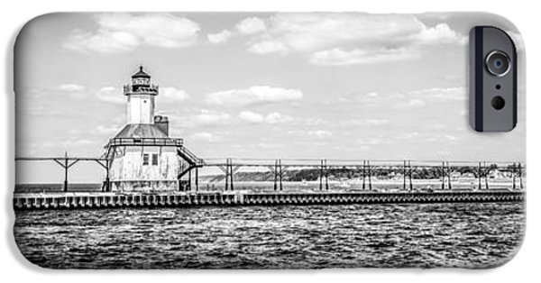 Lake House iPhone Cases - Saint Joseph Lighthouse Retro Panoramic Photo iPhone Case by Paul Velgos