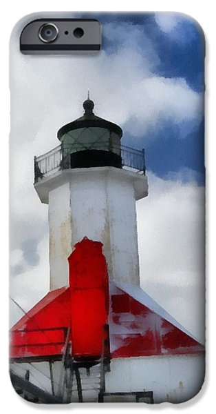 Chicago Paintings iPhone Cases - Saint Joseph Michigan Lighthouse iPhone Case by Dan Sproul