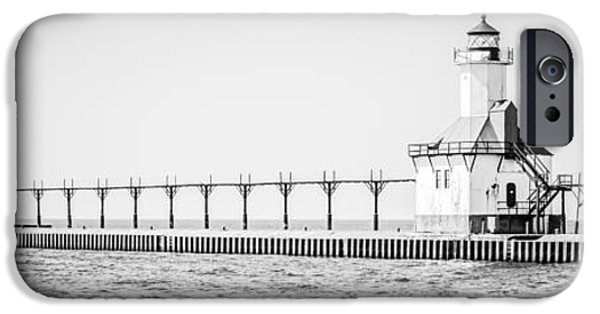 Lake House iPhone Cases - Saint Joseph Michigan Lighthouse Panoramic Photo iPhone Case by Paul Velgos