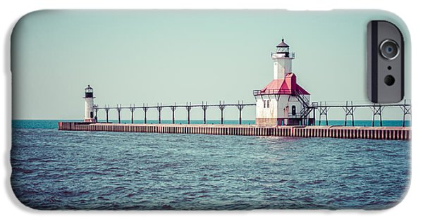 Lake House iPhone Cases - Saint Joseph Michigan Lighthouse Retro Picture  iPhone Case by Paul Velgos