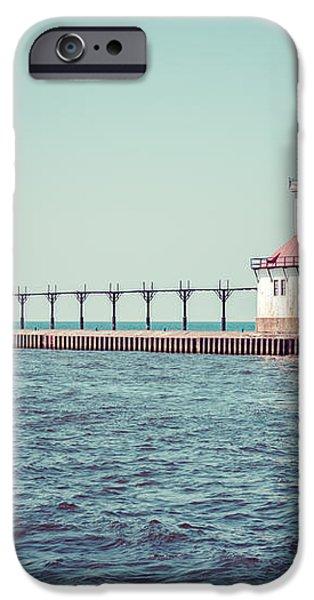 Saint Joseph Michigan Lighthouse Retro Picture  iPhone Case by Paul Velgos