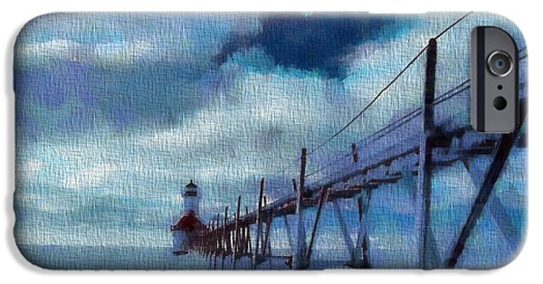 Lighthouse Mixed Media iPhone Cases - Saint Joseph Pier Lighthouse In Winter iPhone Case by Dan Sproul