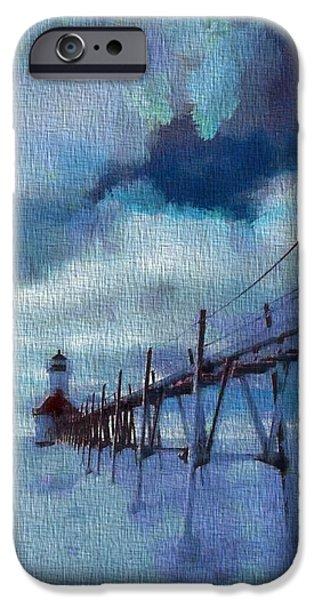 Saint Joseph Pier Lighthouse In Winter iPhone Case by Dan Sproul