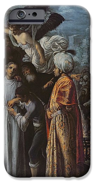 Mercy iPhone Cases - Saint Lawrence Prepared For Martyrdom, C. 1600-1 Oil On Copper iPhone Case by Adam Elsheimer