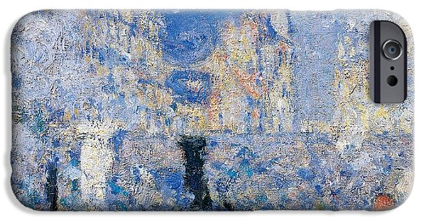 Business Paintings iPhone Cases - Saint Lazare Station iPhone Case by Claude Monet
