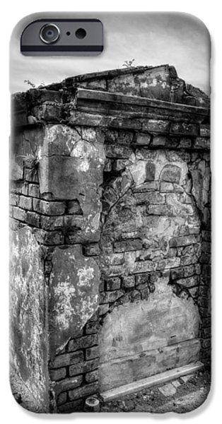 Chrystal iPhone Cases - Saint Louis Cemetery No. 1 Brick Grave in Black and White iPhone Case by Chrystal Mimbs