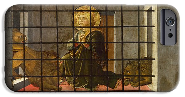 Prison Paintings iPhone Cases - Saint Mamas in Prison thrown to the Lions iPhone Case by Fra Filippo Lippi and Workshop