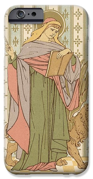 Robe Drawings iPhone Cases - Saint Mark iPhone Case by English School