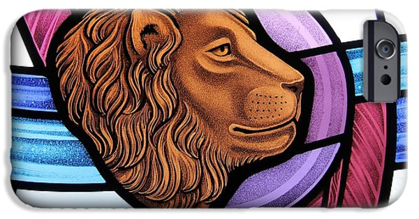 Sacred Glass Art iPhone Cases - Saint Mark Lion iPhone Case by Gilroy Stained Glass