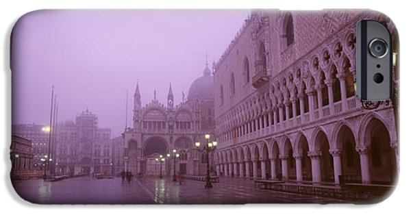 Mist iPhone Cases - Saint Marks Square, Venice, Italy iPhone Case by Panoramic Images