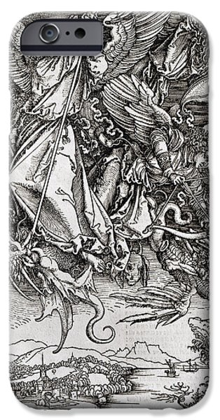 Saints Drawings iPhone Cases - Saint Michael and the Dragon iPhone Case by Albrecht Durer or Duerer