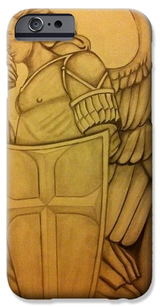 Law Enforcement Drawings iPhone Cases - Saint Michael iPhone Case by Mark Ward