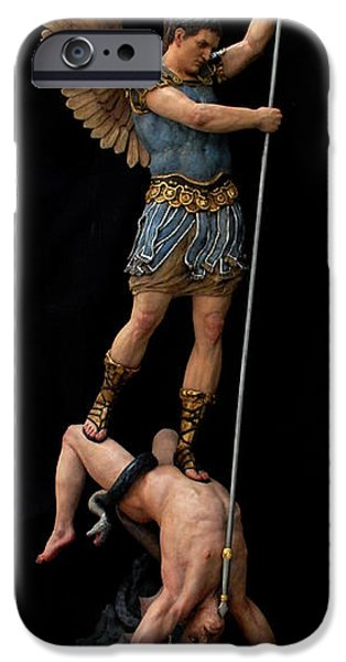 Fall Sculptures iPhone Cases - Saint Michael the Archangel Casting Satan into Hell. iPhone Case by Peter Murphy