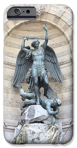 Saint Michael the Archangel in Paris iPhone Case by Carol Groenen