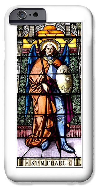 Artists4god iPhone Cases - Saint Michael The Archangel Stained Glass Window iPhone Case by Rose Santuci-Sofranko