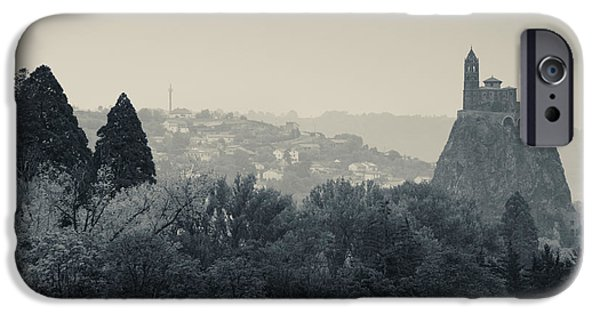Cathedral Rock iPhone Cases - Saint Michel Daiguilhe Chapel At Dawn iPhone Case by Panoramic Images