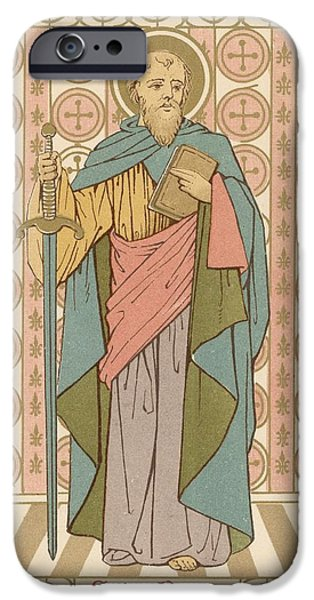 Robe Drawings iPhone Cases - Saint Paul iPhone Case by English School