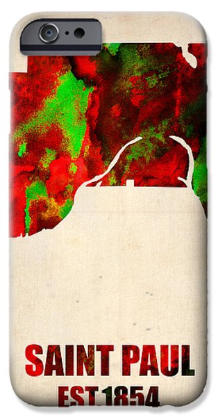 Minnesota iPhone Cases - Saint Paul Watercolor Map iPhone Case by Naxart Studio