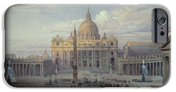 Vatican iPhone Cases - Saint Peters in Rome iPhone Case by Louis Haghe