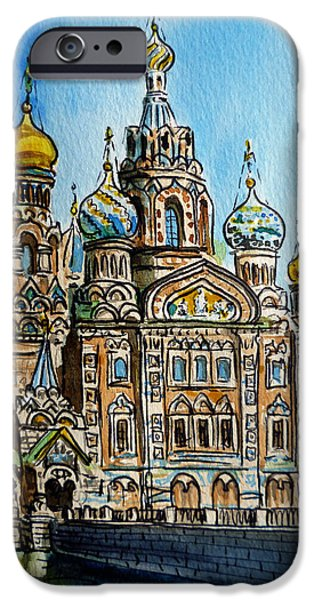 Historical iPhone Cases - Saint Petersburg Russia The Church of Our Savior on the Spilled Blood iPhone Case by Irina Sztukowski