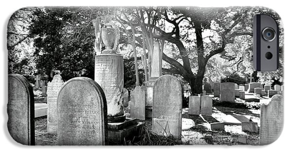 Headstones iPhone Cases - Saint Philips Church Cemetery Charleston SC HDR iPhone Case by Lisa Wooten
