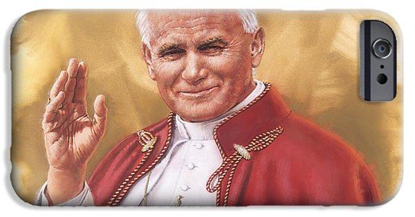 Pope Paintings iPhone Cases - Saint Pope John Paul II iPhone Case by Dick Bobnick