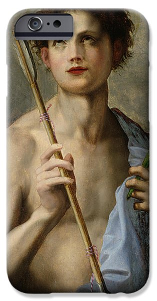 Martyr iPhone Cases - Saint Sebastian Holding Two Arrows and the Martyrs Palm iPhone Case by Andrea Del Sarto