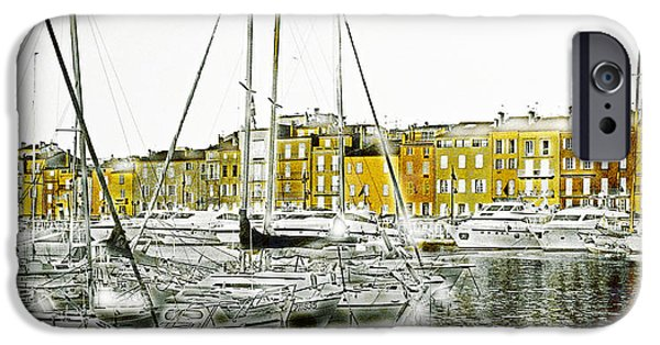 Boat Mixed Media iPhone Cases - Saint Tropez iPhone Case by Frank Tschakert