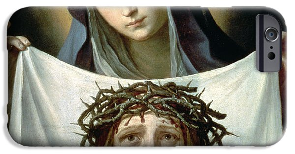 Jesus Face iPhone Cases - Saint Veronica iPhone Case by Guido Reni