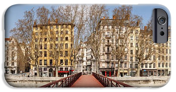 Rhone Alpes iPhone Cases - Saint Vincent Bridge Over The Saone iPhone Case by Panoramic Images
