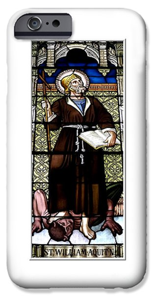 Artists4god iPhone Cases - Saint William of Aquitaine Stained Glass Window iPhone Case by Rose Santuci-Sofranko