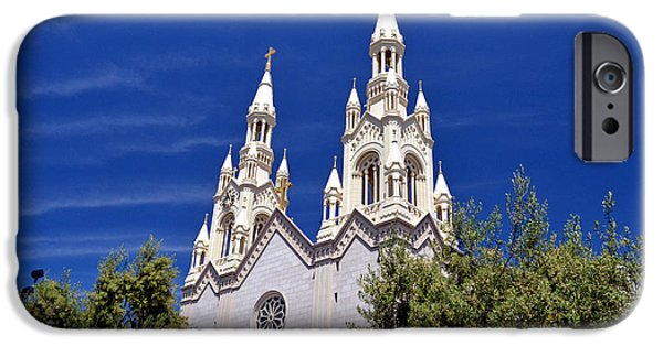 Killer B iPhone Cases - Saints Peter and Paul Church in San Francisco iPhone Case by Jim Fitzpatrick