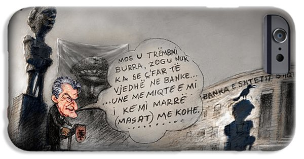 Caricature Drawings iPhone Cases - Sali Berisha per Ahmet Zogun iPhone Case by Ylli Haruni
