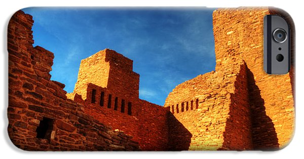 Sw New Mexico iPhone Cases - Salinas Pueblo Abo Mission Golden Light iPhone Case by Bob Christopher