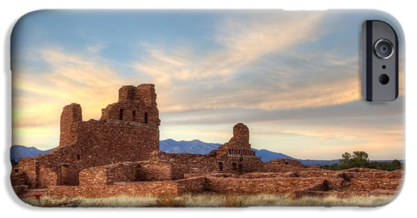 Sw New Mexico iPhone Cases - Salinas Pueblo Mission Abo Ruin 4 iPhone Case by Bob Christopher