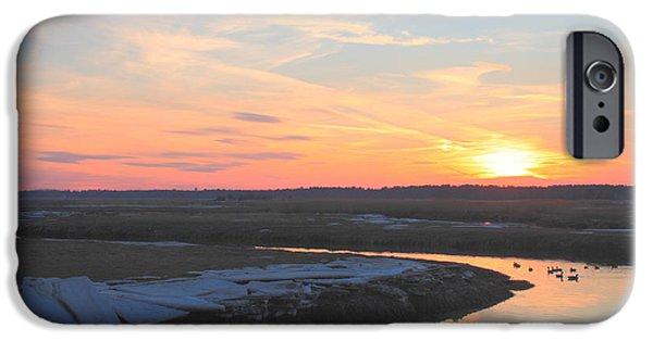 Massachusetts Coast iPhone Cases - Salisbury Beach Late Winter Sunset iPhone Case by John Burk