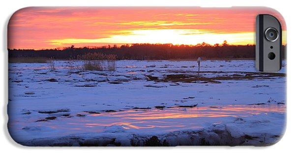 Massachusetts Coast iPhone Cases - Salisbury Beach Marshes Winter Sunset and Snowy Owl iPhone Case by John Burk